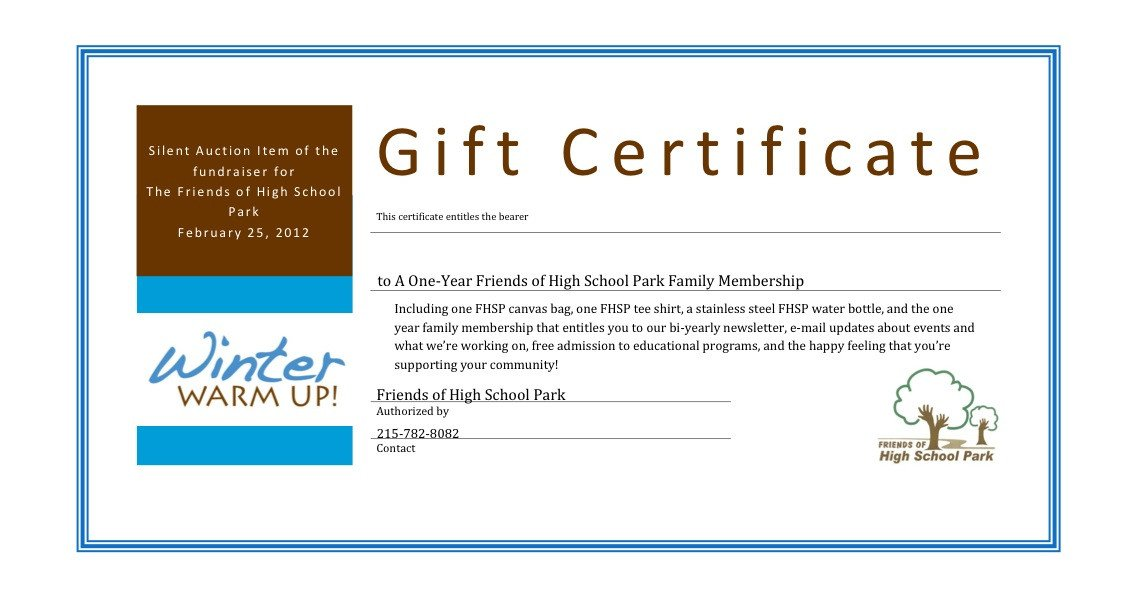 Silent Auction Gift Certificate Template Certificate Templates Charity Voucher Templates Pany