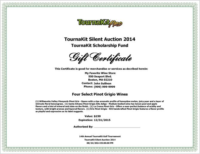 Silent Auction Gift Certificate Template Charity Auction forms 108 Silent Auction Bid