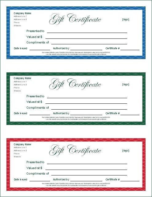 Silent Auction Gift Certificate Template Printable T Certificates