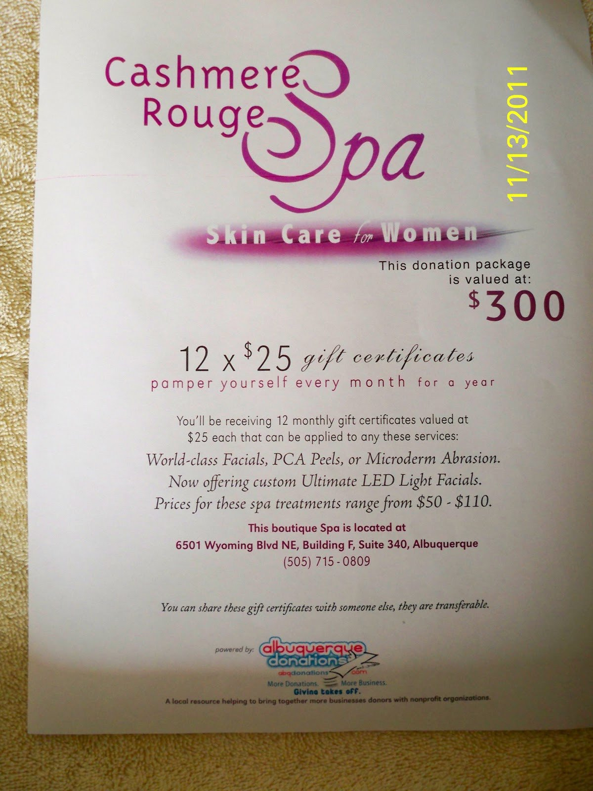 Silent Auction Gift Certificate Template Relentless for A Cure Silent Auction Cashmere Rouge Spa
