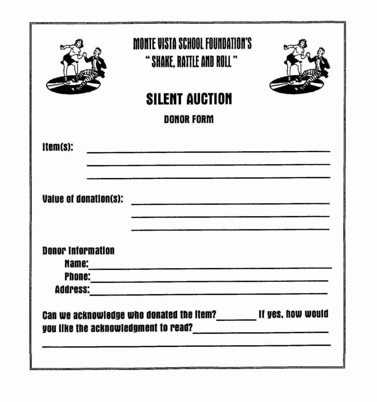 Silent Auction Gift Certificate Template Silent Auction Donation form Template Sampletemplatess