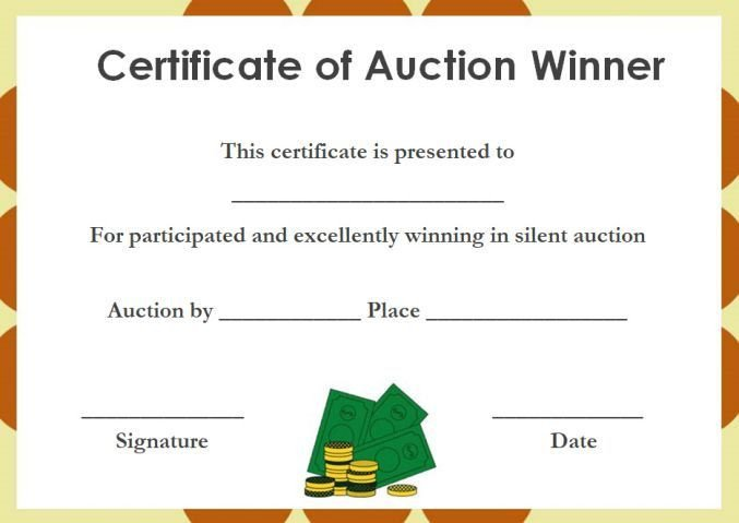 Silent Auction Gift Certificate Template Silent Auction Winner Certificate