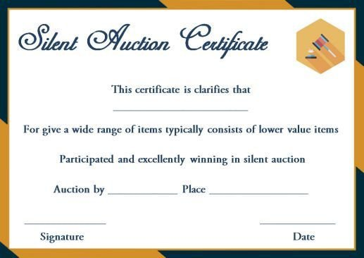 Silent Auction Gift Certificate Template Silent Auction Winner Certificate Template Explore Best