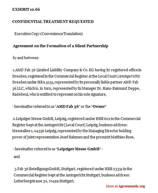 Silent Investor Agreement Agreement On the formation Of A Silent Partnership Sample