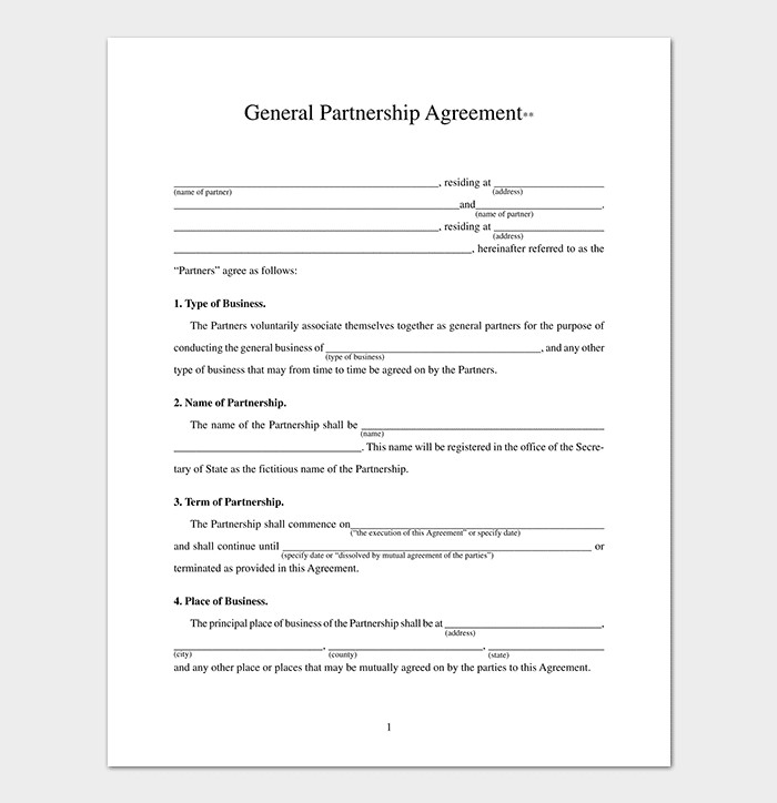 Silent Investor Agreement Partnership Agreement Template 12 Agreements for Word
