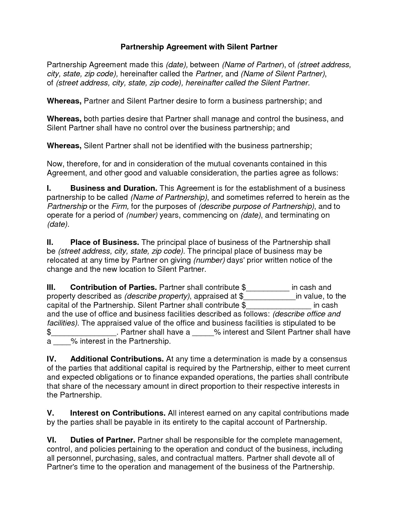 Silent Investor Agreement Silent Investor Agreement Free Printable Documents