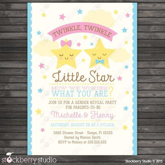 Silly String Gender Reveal Template Gender Reveal Party Invitation Printable Twinkle Twinkle