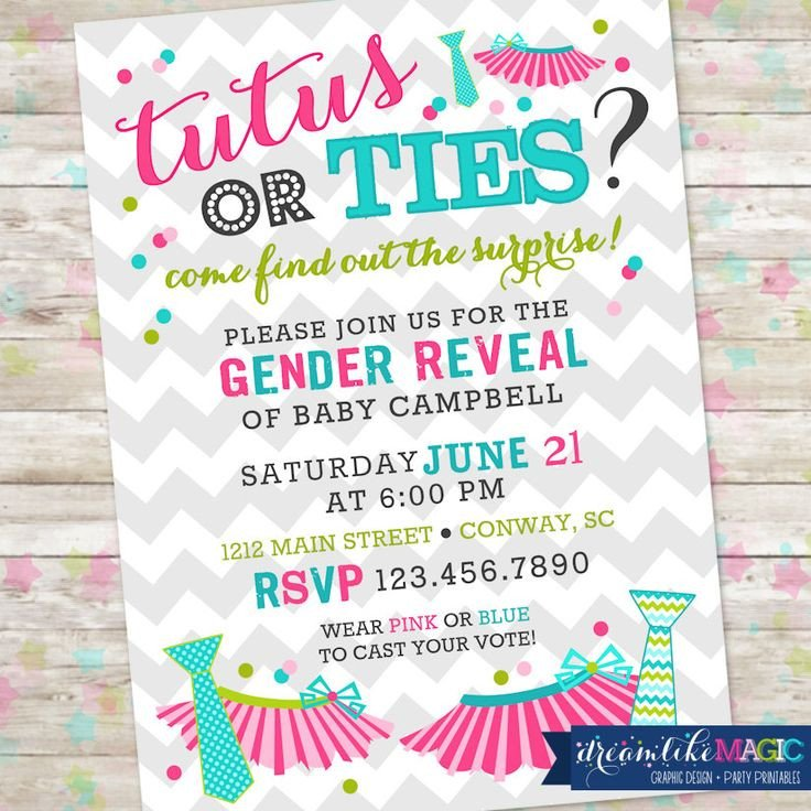 Silly String Gender Reveal Template Tutus or Ties Gender Reveal Invite Gender Reveal Party