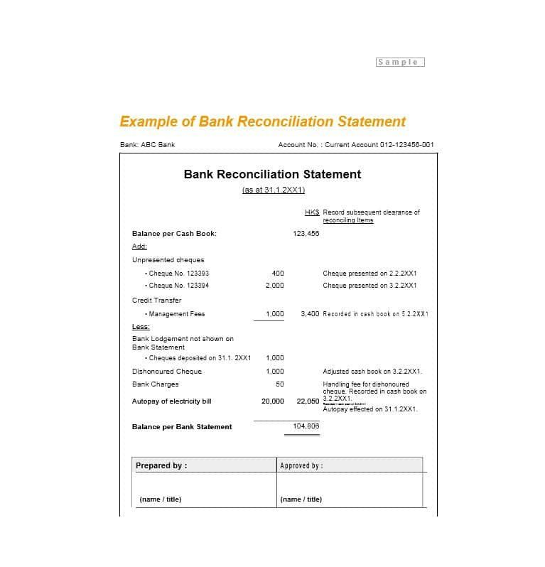 Simple Bank Reconciliation Template 50 Bank Reconciliation Examples & Templates [ Free]