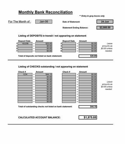 Simple Bank Reconciliation Template Bank Reconciliation Spreadsheet Microsoft Excel