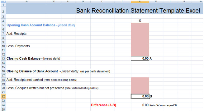 Simple Bank Reconciliation Template Bank Reconciliation Statement Excel Template Xls