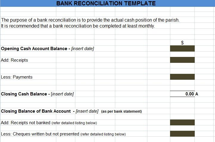 Simple Bank Reconciliation Template Bank Reconciliation Template