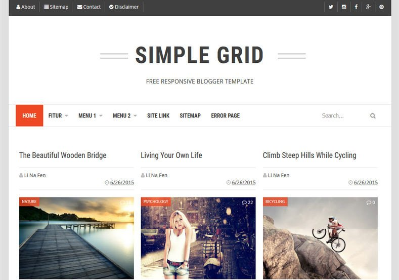 Simple Blogger Templates Free Simple Grid Blogger Template • Templates 2019