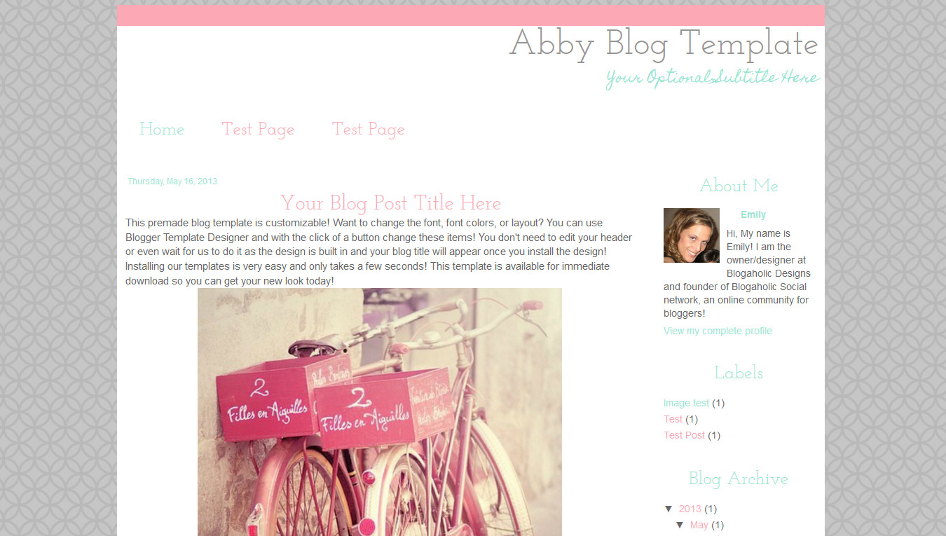 Simple Blogger Templates Free Simple Modern Premade Blog Template Pink Grey