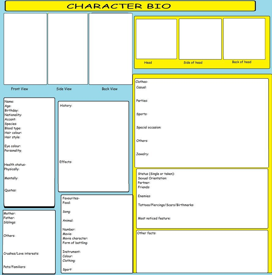 Simple Character Bio Template Character Bio Template by Kitkattykomodo On Deviantart