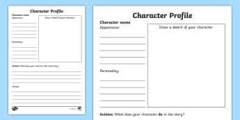 Simple Character Bio Template Character Descriptions Ks1 Writing Primary Resources