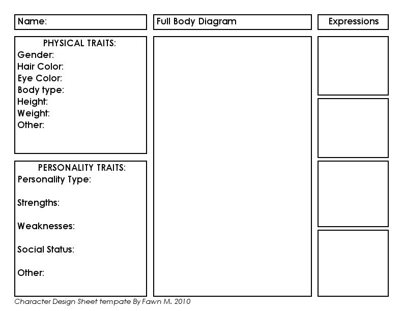 Simple Character Bio Template Character Profile Template