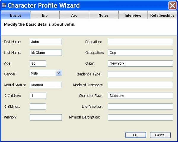 Simple Character Bio Template Movie Outline software Screenplay Outline & Screenwriting