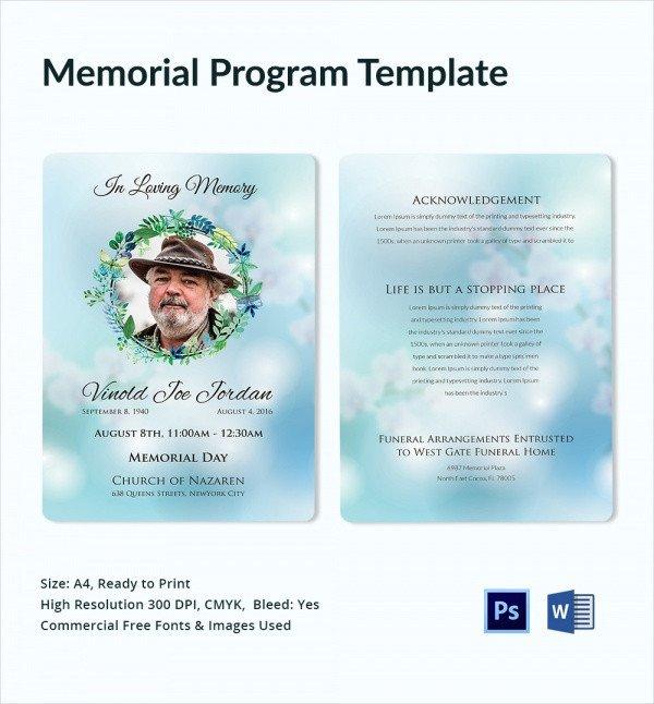 Simple Funeral Program Template Free 16 Sample Memorial Program Templates Free Sample