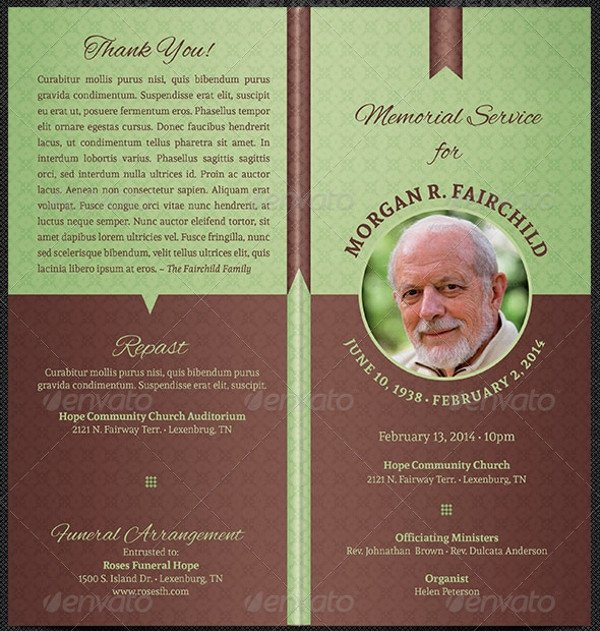 Simple Funeral Program Template Free 17 Funeral Program Templates