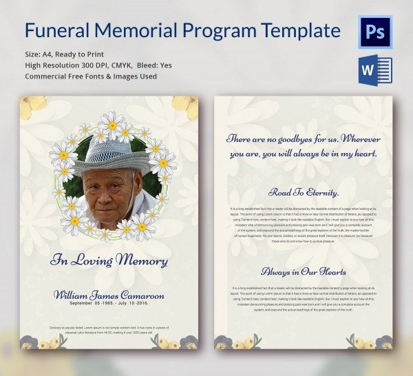 Simple Funeral Program Template Free 6 Funeral Memorial Program Templates Word Psd format