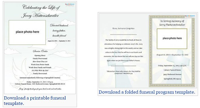 Simple Funeral Program Template Free Free Editable Funeral Program Template
