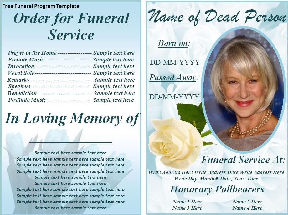 Simple Funeral Program Template Free Free Funeral Program Templates