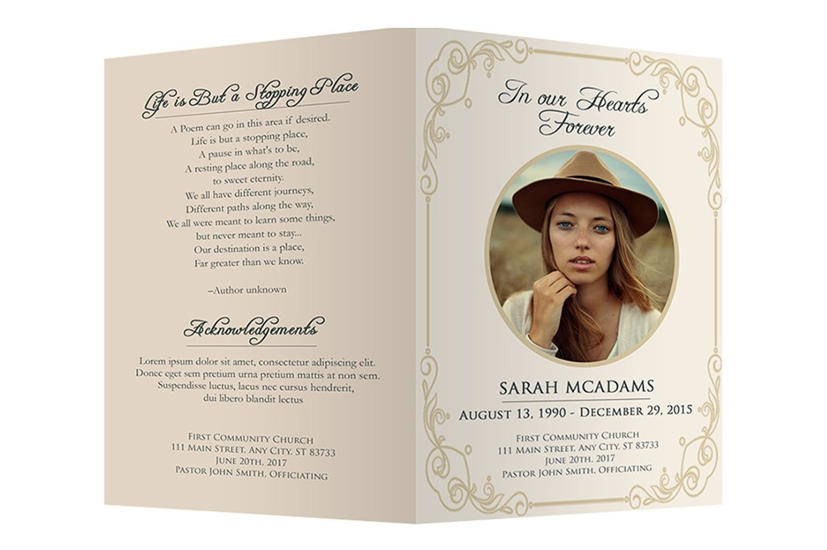 Simple Funeral Program Template Free Funeral Program Template Brochure Templates Creative