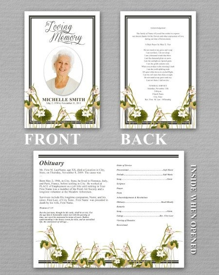 Simple Funeral Program Template Free Funeral Program Template