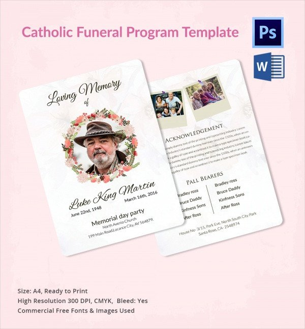 Simple Funeral Program Template Free Sample Catholic Funeral Program 12 Documents In Pdf