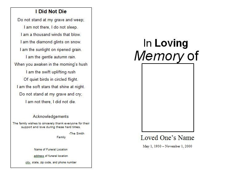 Simple Funeral Program Template Free the Funeral Memorial Program Blog Free Funeral Program
