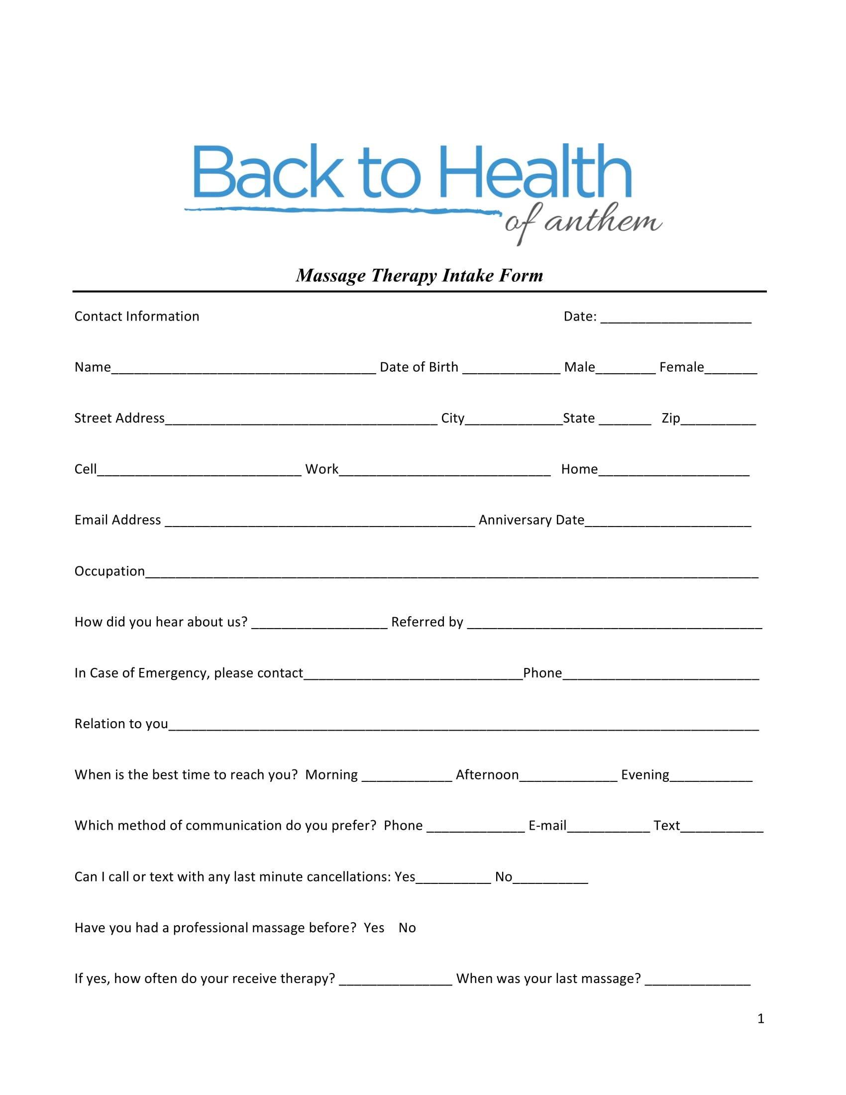 Simple Massage Intake form 5 Massage Intake forms Pdf
