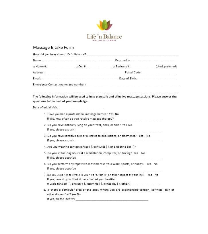 Simple Massage Intake form 59 Best Massage Intake forms for Any Client Printable