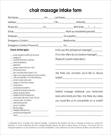 Simple Massage Intake form Sample Massage Intake form 9 Examples In Word Pdf