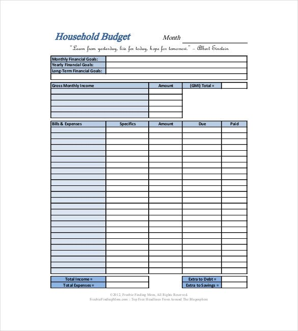 Simple Personal Budget Template 13 Household Bud Templates Free Sample Example