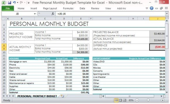 Simple Personal Budget Template Free Personal Monthly Bud Template for Excel