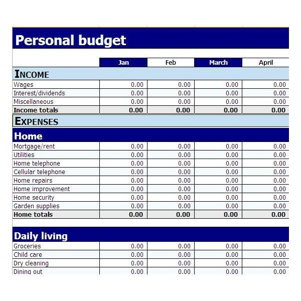 Simple Personal Budget Template Simple Bud Template