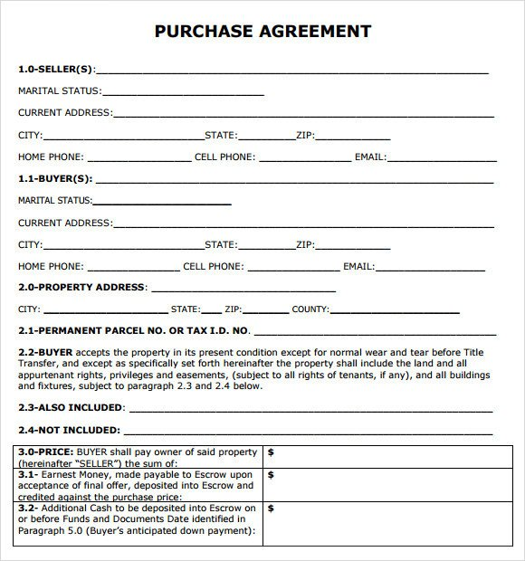 Simple Purchase Agreement Template Purchase Agreement 7 Free Samples Examples format