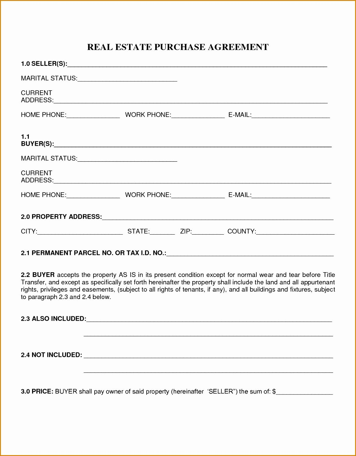 Simple Purchase Agreement Template Simple Real Estate Purchase Agreement