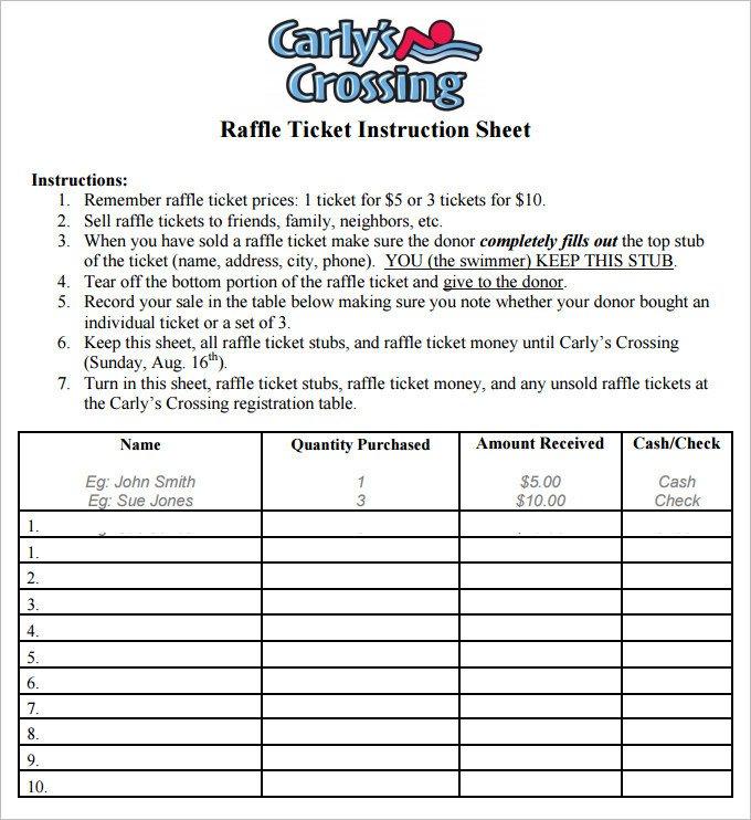 Simple Raffle Ticket Template 9 Raffle Sheet Template Word Pdf