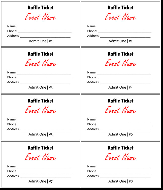 Simple Raffle Ticket Template Raffle Tickets Template