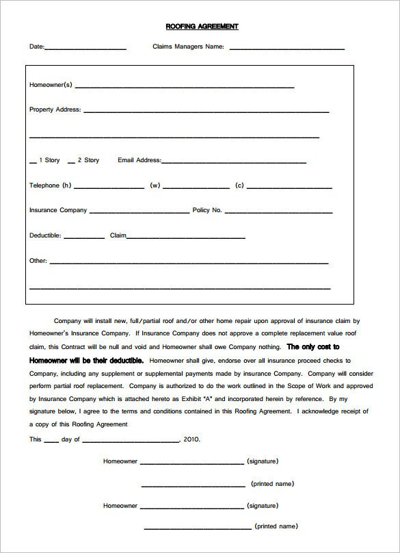 Simple Roofing Contract Template 15 Roofing Contract Templates Word Pdf Google Docs