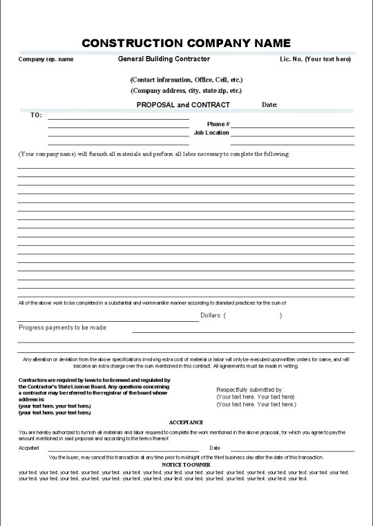 Simple Roofing Contract Template Printable Sample Construction Contract Template form