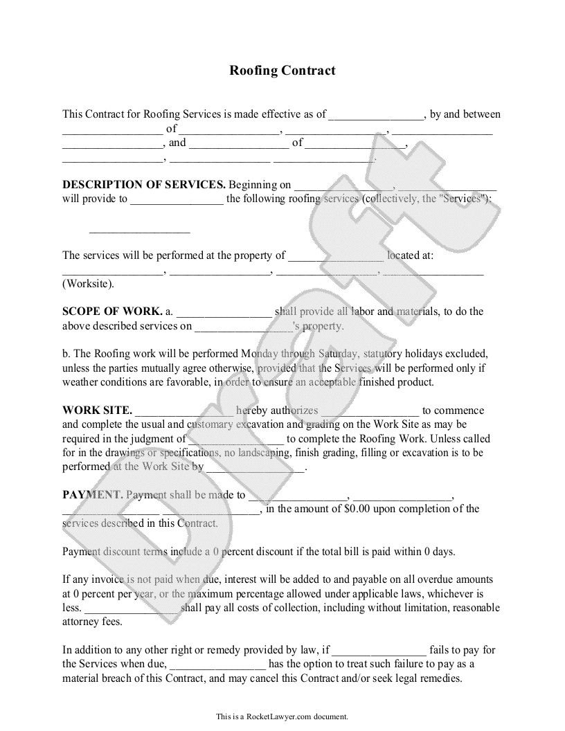 Simple Roofing Contract Template Roofing Contract Template Free form with Sample Sample