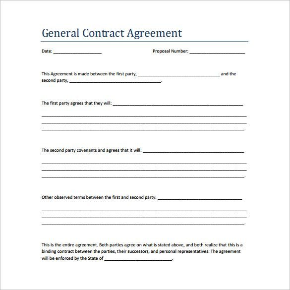 Simple Roofing Contract Template Sample Contract Agreement 13 Free Documents Download In