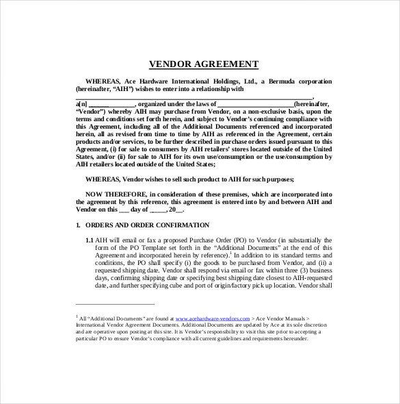 Simple Vendor Agreement Template 27 Sample Vendor Agreement Templates Pdf Doc