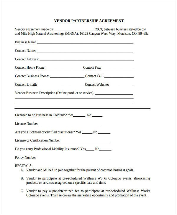 Simple Vendor Agreement Template 60 Examples Of Partnership Agreements Word Apple Pages