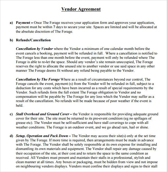 Simple Vendor Agreement Template Sample Vendor Contract Template 13 Free Samples