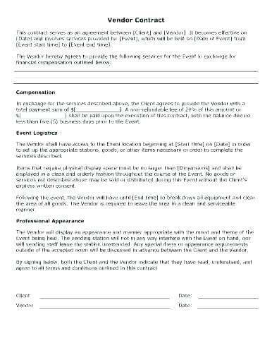 Simple Vendor Agreement Template Simple Vendor Agreement Template – Viabcp