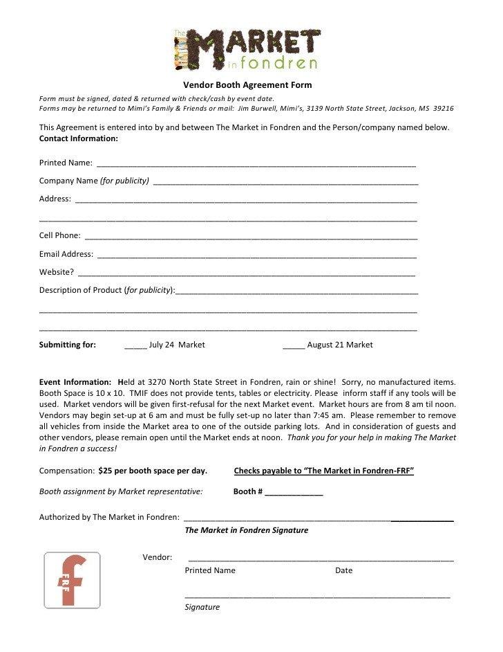 Simple Vendor Agreement Template the Market In Fondren Vendor Agreement form